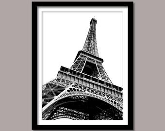 Eiffel Tower Print, Eiffel Digital Print, Landmark Wall Decor,  Minimalist Print, Paris Printable Art, Eiffel Tower Poster, Black and White