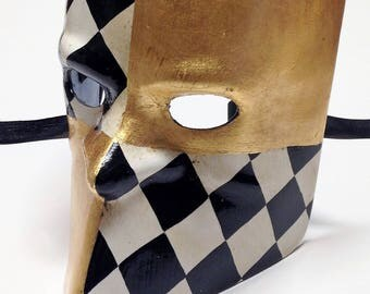Venetian Bauta Mask – Gold Leaf and Harlequin