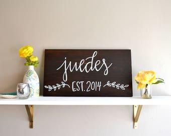 Custom Name Sign | Handwritten Home Sign | 20x12 | Housewarming | Bridal Shower Gift | Birthday | Wedding Gift