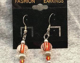 Orange Crystal dangle earrings