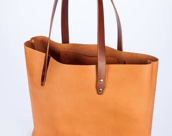 Leather tote bag, vegetable tanned leather handbag, inside hanging pocket, brass rivets, and personalized with monogram