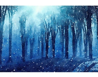 Night Forest Original Watercolour Painting Q111