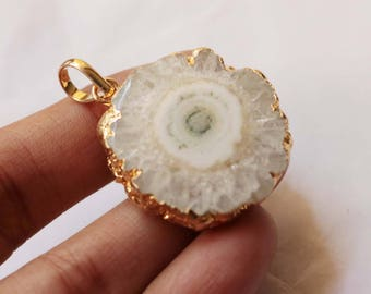 Gold Electroplated White Solar Quartz Multi Color Druzy Pendant with Loop,Elegant Druzy Handmade Pendant*GS93