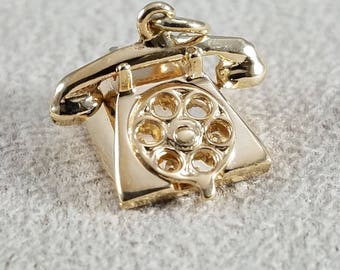14k Yellow Gold Articulating Telephone Charm