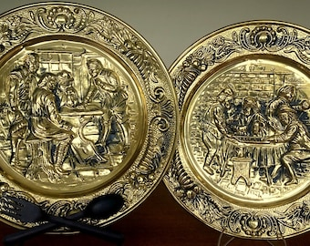 1960s ELPEC Brass Plates Made in ENGLAND 2 Plates with Colonial Pub Scene French Provincial