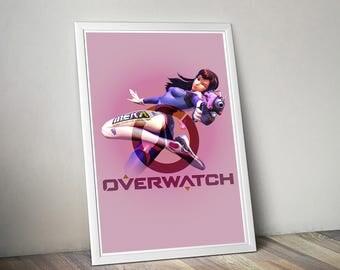 Overwatch D.Va Poster, Game Poster, Flat Print Design, Digital Printable Poster, Blizzard wall art, Instant Download, game art, Video games
