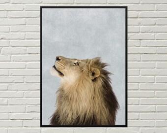 LION print lion art, lion decor, lion wall art, lion wall decor, lion poster, cute lion, printable art, male lion picture, printable lion