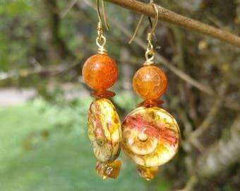 Amber, agate earrings