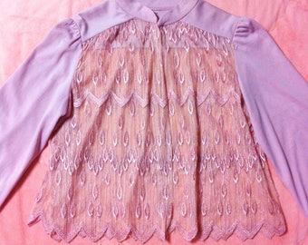 1970s Vintage Mauve Pink Sheer Top / 70s Vintage Mauve Pink Sheer Blouse Top