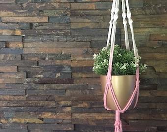 Powder pink dip-dye plant hanger