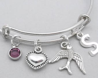 Swallow bird charm bracelet | swift bird bangle | personalised bird bracelet | swallow jewelry | bird gift | initial letter | birthstone