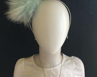Mint fox fur headband