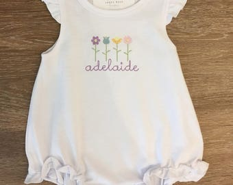 Personalized Vintage Stitched Floral Ruffle Tee