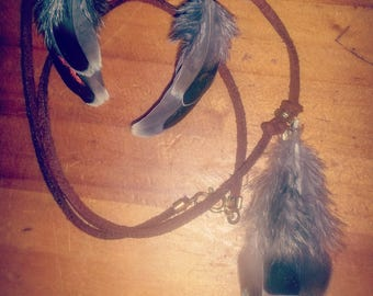 Feather necklace and matching earings