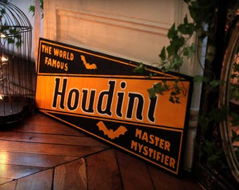 HOUDINI wooden hand painted advertising sign