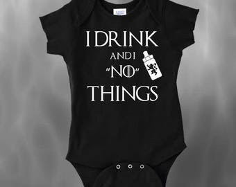 I Drink And I 'No' Things Baby Bodysuit, Toddler Shirt, Baby Shower Gift, I Drink And I Know Things, Adorable Baby Bodysuit, Bottle