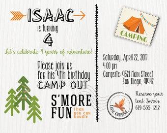 Camping Themed Birthday Invitation