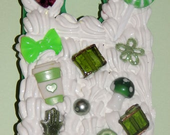 Decoden Phone Case For IPhone5. White Whip/ Green Cabochons