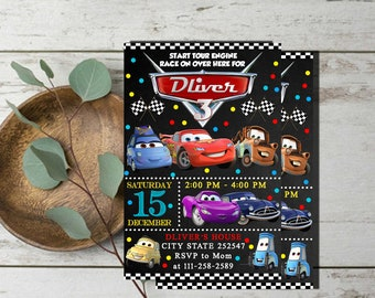 Cars Birthday Invitation,Cars Birthday,Cars Party,Cars Birthday Party,Cars Invitation,Lightning McQueen Invitation,Cars Printable