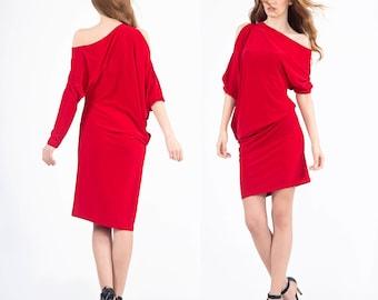 Red oversize dress, Midi dress, Oversize dress, Red dress, Plus size dress, Summer dress, Long sleeve dress, Maternity dress, Casual dress