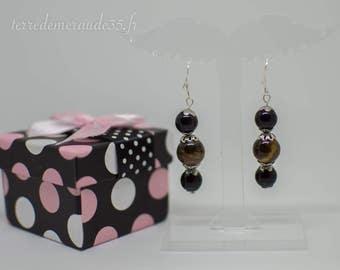 Tiger eye earrings / Obsidian