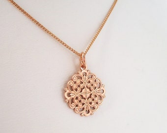 Openwork end necklace plated 925 Silver charm 18 k rose gold