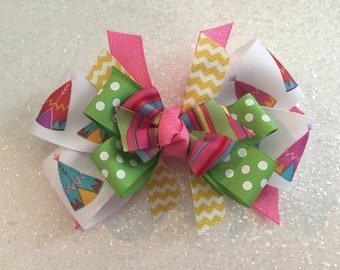"""Multi Color TeePee 5"""" Bow with Gator Clip"""