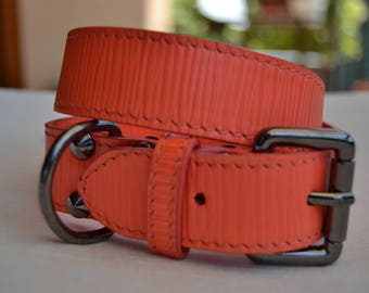Luxury red leather dog collar, handmade in Italy