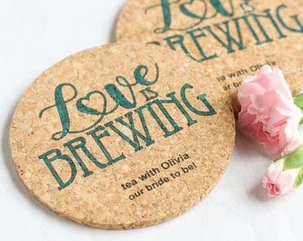 Personalized Round Cork Wedding Coasters