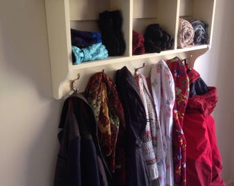 Coat rack, wall mounted, Shabby chic, country cottage, coat rack with shelf and seven hangers and three cubby holes.