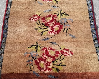 Oushak Rug,Vintage  Rose Carpet,Home Living,Rose Rugs,Pastel Colors Floor Rugs,3'8''x4'6''feet,Soft, Rugs,Floor Copper Yellow,Soft Rugs,