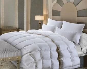 """Luxurious 100% Hungarian Goose Down Comforter, 700+ FIll Power Duvet Insert .""""LIGHT.WARM.MAGICAL"""" queen size"""