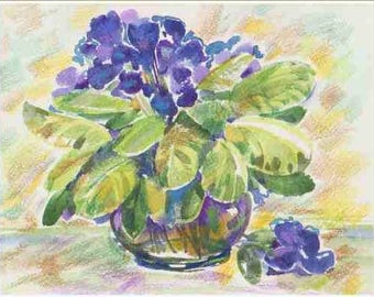 Watercolor painting,Violets, violets in a vase, blue flowers flowers in a vase ,field bouquet, a small still-life, wild flowers 17x22
