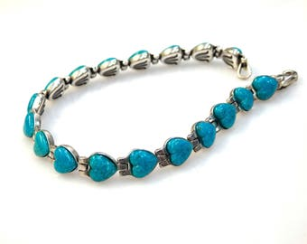 Sterling Silver Heart Mozaic Turquoise Bracelet
