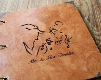Personalized Beauty  Leather Photo Album /Custom Wedding Guest Book/wedding Scrapbook