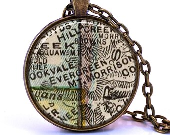 Evergreen, Colorado Map Pendant Necklace - Created from a vintage map published in 1927.