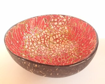 No. 8/18 Handmade Artisan Mosaic Hawaiian Coconut Shell Bowl with Artistic Hand-painted Inlay (Red/Gold)
