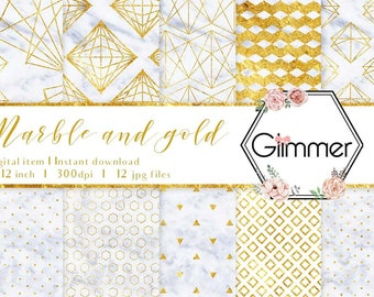 12 Marble and Gold Digital Papers