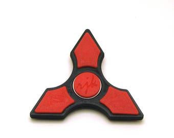 3D Printed Fidget Spinner (Black/Red)