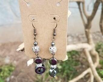 Silver and Hematite dangle earrings