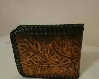 Leather Tooled Oak Leaf Wallet