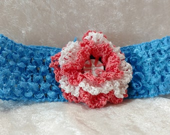 Girl's headband with crocheted button flower