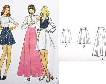"Flared Vintage Skirt VINTAGE Sewing Pattern 1970's : 70's Gored Maxi Skirt BUTTERICK 6994 - Waist 28"" 71cm"