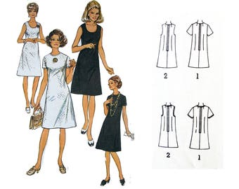 Simple A-Line Shift Dress : VINTAGE Sewing Pattern 1971 - 60's Style Retro Mod Dress SIMPLICITY 9175 - Bust 89 cm / 35""