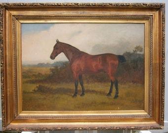 Beautiful Horse Portrait Oil by Arthur Batt 1892 Signed