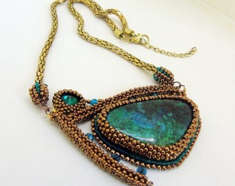 Geometrical chrysocolla necklace - natural stones necklace - beadwork - bead embroidery - green necklace - handmade jewelry