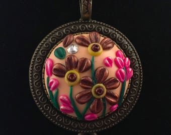 """Polymer Clay Spring Tassle """"Embroidered"""" Pendant MADE TO ORDER"""