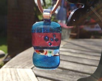Unique handmade fused glass pendant