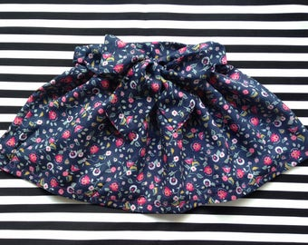 Lydia skirt with Ribbon blue flowers fuchsia