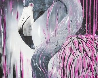 Flamingo, canvas acrylic paint, handmade, original